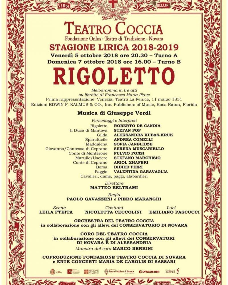 TEATRO COCCIA di NOVARA: Rigoletto dal 5 ottobre 2018